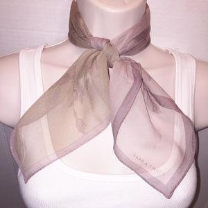 ELLEN TRACY Beige Floral Chiffon Silk Scarf